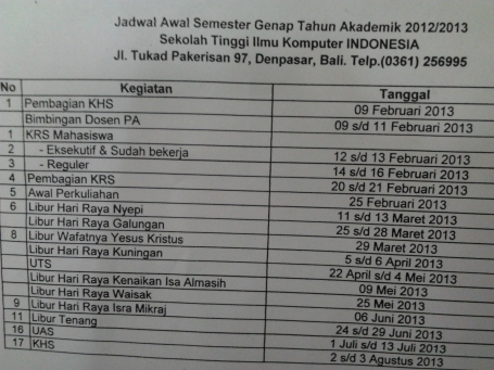 Kalender Akademik 2012/2013 Semester Genap