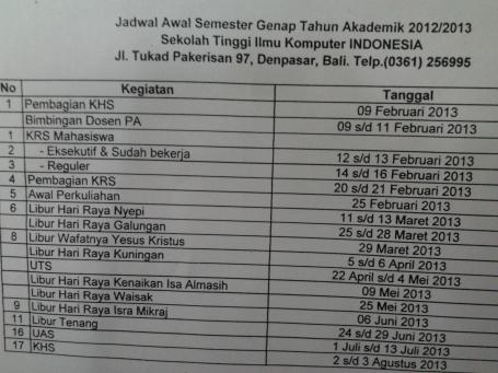 Kalender Akademik 2012/2013 Semester Genap